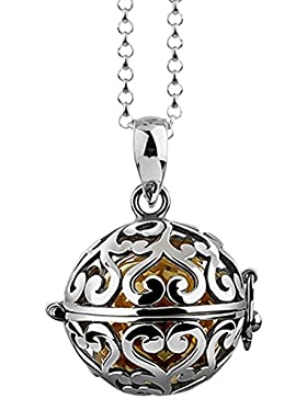 Nenalina Silber Halskette mit Engelsflüsterer Anhänger inkl. Klangkugel | Damen Collier mit Schmuckanhänger |...