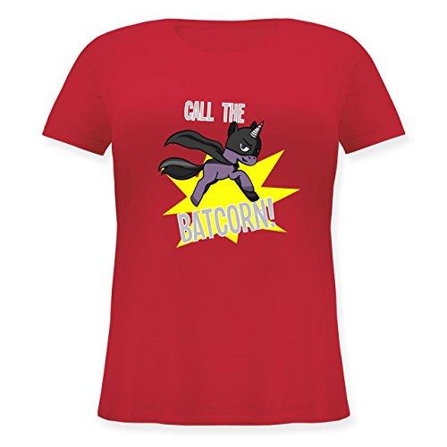 (Shirtracer Einhörner - Call the Batcorn - S (44) - Rot - JHK601 - Lockeres Damen-Shirt in großen Größen mit Rundhalsausschnitt)