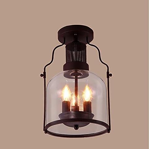 Adelaide - Vintage Glass Lights Plafonniers Bar à Repassage Individuel Creative Iron Industry Plafonnier Corridor d'allée