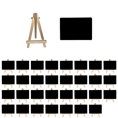 Mehrondo 32 Stück Staffelei mit Solider Kunststoff-Tafel ST107 Ideal für Namensschilder und Tischdekoration, Tafeln mit Glatter Oberfläche in Größe Din A7 (105 x 74 mm)
