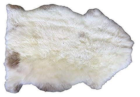 Tapis en peau de mouton LAIT BLANC peau de décoration naturel, blanc longueur ca. 80 (Pelle Appartamento Divano)