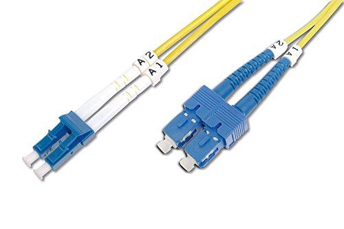 DIGITUS Professional Glasfaser LWL Patchkabel, LC zu SC, OS2, Singlemode, 09/125 µ, Duplex, Länge 5 Meter