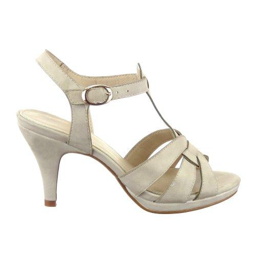 Sopily - Scarpe da Moda scarpe decollete cinturino alla caviglia donna fibbia Tacco a cono 9 CM - Beige FRF-W127 T 38 - UK 5