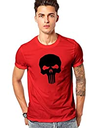 The Punisher Skull Printed T Shirt - Men's The Punisher Skull Logo Round Neck T Shirt - Red