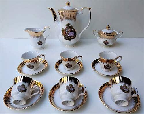 Servizio caffe' 09 pezzi pioggia oro dama Made in Italy