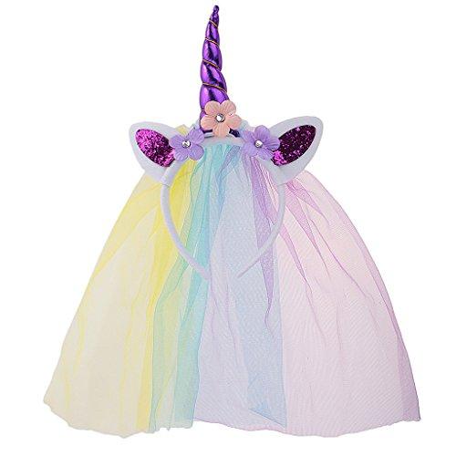 MagiDeal Diadema con Velo de Niñas Forma de Unicornio Accesorio Decorativo de Traje de Cosplay Partido Vestido de Fantasía - Púrpura