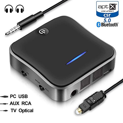 Hagfly Bluetooth Sender Empfänger 5.0 Wireless Adapter Bluetooth Audio Adapter Digital Optisch TOSLINK Cinch 3.5mm Audiokabel für Auto TV Lautsprecher APTX Low Latency Technology Cinch-batterie