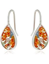 Córdoba Jewels |Pendiente en plata de Ley 925. Medida: 10 x 23 mm.Murano de 14 x 10 mm. Tipo de cierre: Hippie. Diseño Lágrima Murano Colors Hippie