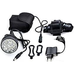 Theoutlettablet Luz delantera - Foco frontal para Bici 14000 lumenes max Linterna frontal 11x CREE XM-L 11x T6 LED de bicicleta frontal para manillar de bicicletas (11 focos) con batería y cargador