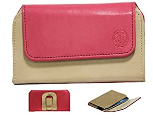 Jo Jo A4 Nillofer Belt Case Mobile Leather Carry Pouch Holder Cover Clip For Lava A76 Red Beige