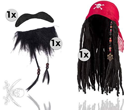 TK Gruppe Timo Klingler 2 in 1 - Pirat Set Seeräuber mit Perücke und Bart selbstklebend als Kostüm für Faching & Karneval. Herren & Damen wie Captain Jack Sparrow -