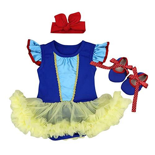 FYMNSI Baby Mädchen Erste Halloween Outfit Prinzessin Schneewittchen Kostüm Tütü Body Kleid + Schleife Stirnband + Schuhe 3tlg Party Weihnachten Geburtstag Bekleidungsset Blau + Gelb 12-18 - 12 18 Monat Schneewittchen Kostüm