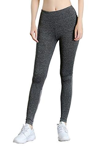 Sport Leggings Damen Yoga Pants Strumpfhose Active Fitness Tights Running Workout Hosen- Gr. L, Grau