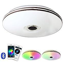 Elinkume 32W Bluetooth Control LED Lamp Licht, 1760LM Dimmbar RGB LED Deckenleuchte,RGB mit Bluetooth Lautsprecher, 7000K AC 220V