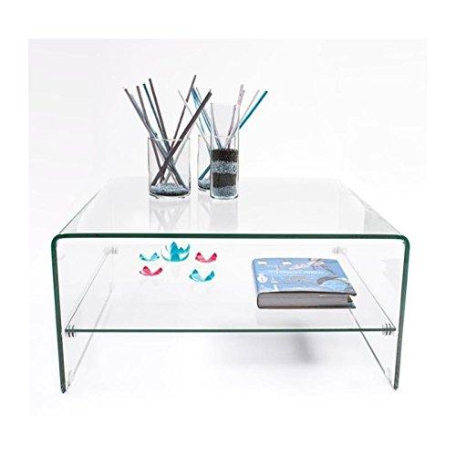 Mesa de centro cuadrada de cristal curvado y templado de una pieza con revistero