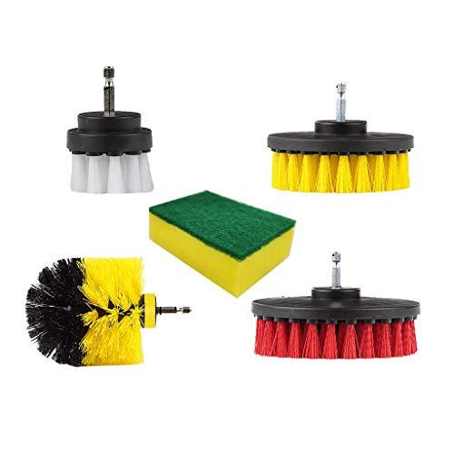BESSKY 5 Stück Bürste für Bohrmaschine Reinigungsbürsten-Kombi-Tool-Kit für die Reinigung von Fugenmörteln für WC Küche/Bad Boden Fliesen/Fugen und schwer zu Erreichen Ort -