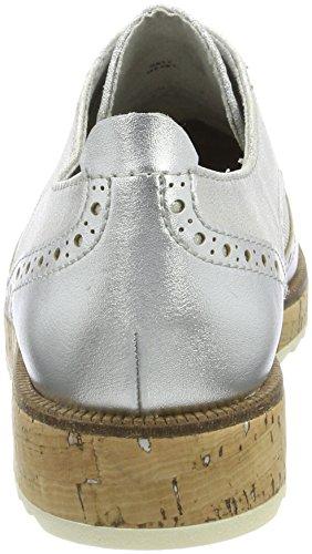 Marco Tozzi 23726, Chaussures Brogues Basse Brogue Femme Argent (peigne Argent)