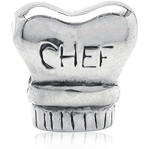 Cappello da chef con perline in argento Sterling 925compatibile Pandora, Chamilia, ecc. Charms Bracciali e