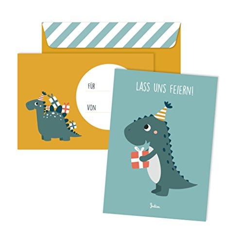 JulicaDesign Einladungskarten Kindergeburtstag | 6 Karten mit Umschlag | 6er Set | Geburtstagseinladungen für Jungs und Mädchen (Dino)