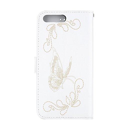 Hülle für iPhone 7 plus , Schutzhülle Für iPhone 7 Plus Laser Carving Schmetterling Pattern Horizontal Flip PU Ledertasche mit Magnetverschluss & Halter & Card Slots & Wallet ,hülle für iPhone 7 plus  White