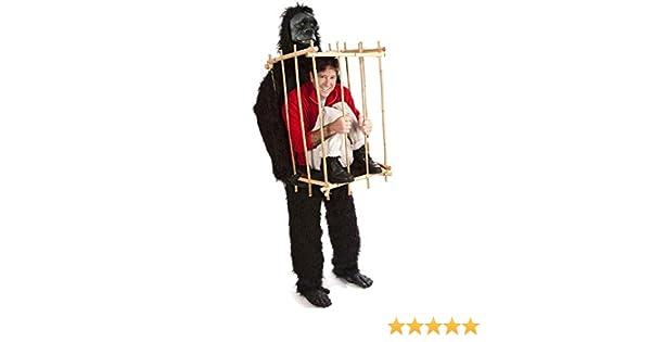 161e9588bc9e Costume Carnevale Halloween Animale Gorilla con Gabbia Umana - uomo donna:  Amazon.it: Abbigliamento