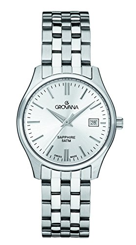 GROVANA 5568.1132 Women's Quartz Swiss Watch with Silver Dial Analogue Display and Silver Stainless Steel Bracelet