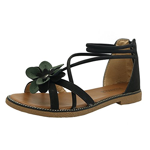 KonJin Women Flower Low Heel Anti Skidding Beach Peep-Toe Sandals Summer Beach Walking Sandals Shoes Clip Toe Flip Flops Thongs Bohemian Wedge Shoes