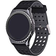 Greatfine Reloj Inteligente Smart Watch 22mm Silicona Banda de Reloj de la correa de para Samsung Galaxy Gear 2 R380 Neo R381 Live R382 / MOTO 360 2nd/Pebble Time / LG G Watch W100/W110/Urbane Smartwatch (Black Grey)