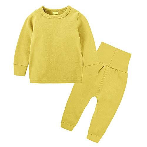 Chickwin Conjuntos de Pijama para Bebés Niños Niña, Unisex Manga Larga Top Pantalones de Cintura Alta Color Sólido Pijamas Enteros 3 Meses~8 Años (130(7-8 años de Edad), Amarillo)