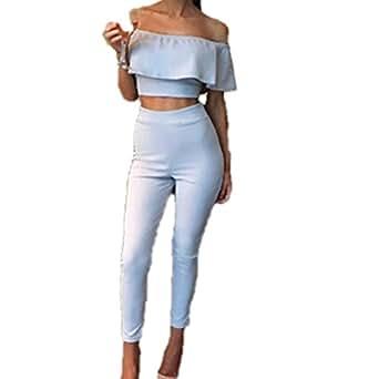 Wanyang donna tute abbigliamento 2 pezzi off shoulder tops for Amazon offerte abbigliamento