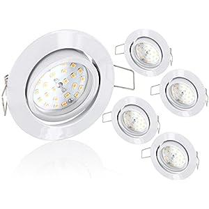 5er Pack - Ultraflacher LED 5W Einbaustrahler schwenkbar 230V - weiß - 490lm - 120° - tagesweiß (4000 K)