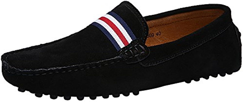 Jamron Hombres Elegante OTAN-Raya Conducción Mocasines Zapatos Comodidad Hecho a Mano Ante Mocasín Zapatillas