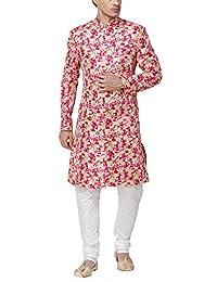 Svanik Pink Blended Printed Sherwani