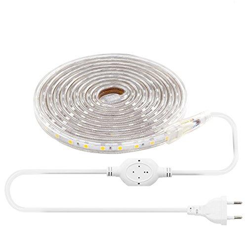 LEBRIGHT 3M(9.8ft) Striscia LED 60 LED/M SMD 5050 3000K, 230V IP65 Luce di Striscia Impermeabile per la casa Giardino, Decorazione (3m, Bianco Caldo)