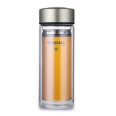 QILEYIN 350ml klare Borosilikatglas Reisebecher mit Edelstahl Tee Infuser GYBL227