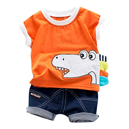 JUTOO 2 Stücke Set Kleinkind Kinder Baby Jungen Cartoon Print T-Shirt Tops + Jeans Kurze Outfits Sets ()