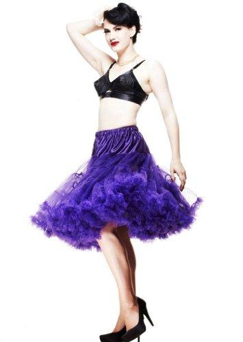 Kostüm Jahre Der 1950er Kinder (LuYan 50s Vintage Rockabilly Fluffig Schwingen Petticoat Skirt, Violett, Größe 50, 60cm Länge)