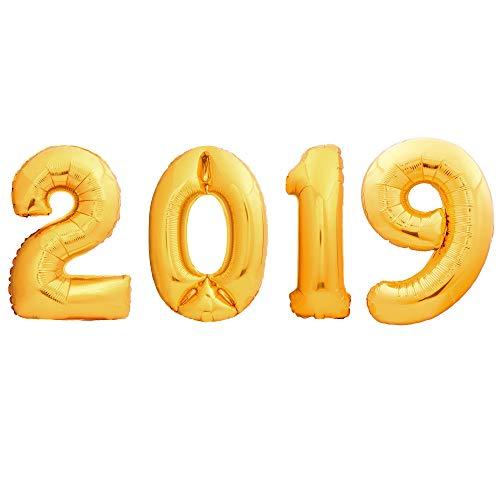 4 Paquetes – Globos Gigantes Decorativos de Aire, Helio, Aluminio - Articulo de Decoración Fiesta 2019 - Adorno de Números 100cm -Accesorio para Celebración, Cena de Navidad, Graduación, y Año