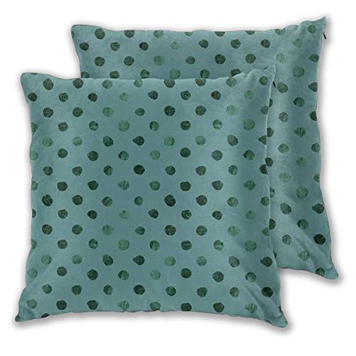 Myhou Throw Pillow Case,Swiss Dot Teal Evergreen Square Solid Cushion Cover Set of 2 Throw Pillow Cover Home Seat Sofa Decor 18 x 18 Inch Floral Swiss Dot