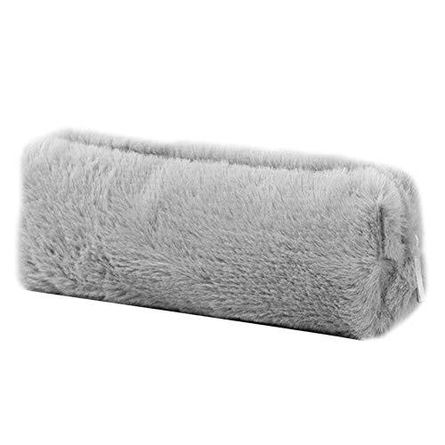 ed74d96fccd9e Alaojie Girl Cute Pencil Case Plush Fuzzy Fluffy Makeup Coin Purse Storage  Bag for Women Grigio
