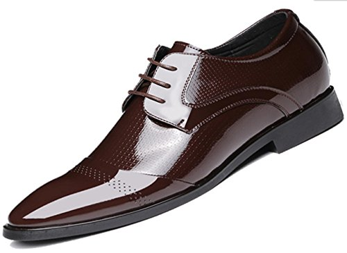 Nspx Men's Casual Respirant Men's Shoes / Hauteur Interne / Chaussures Hommes Angleterre Cuir Chaussures Bright, 40 Brown-40