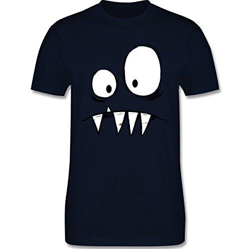 Karneval & Fasching - Monster Gesicht Kostüm 2 - XL - Navy Blau - L190 - Herren T-Shirt Rundhals