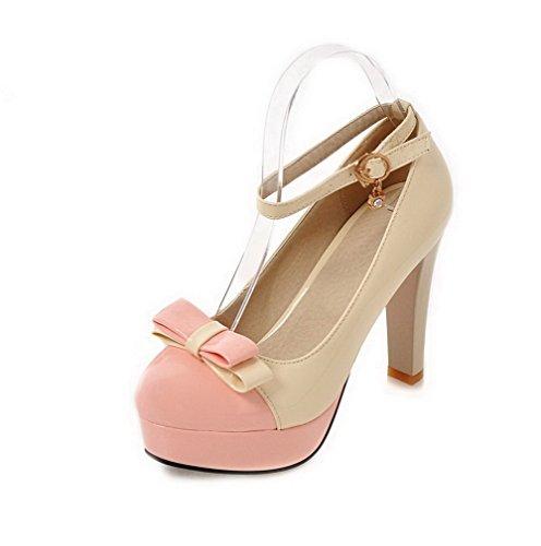 VogueZone009 Damen Pu Leder Hoher Absatz Rund Zehe Gemischte Farbe Schnalle Pumps Schuhe Cremefarben