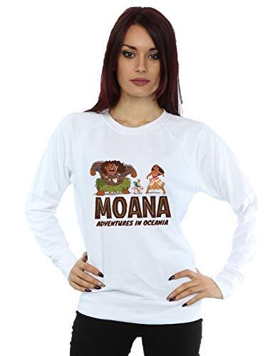 Disney Damen Moana Adventures in Oceania Sweatshirt Weiß X-Large (Disney Sweatshirt Damen In)