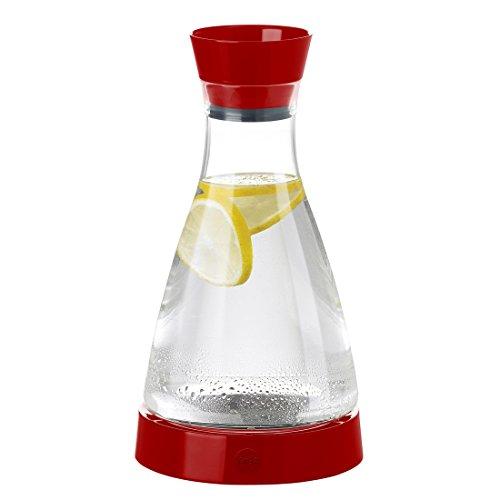 Emsa 509685 Wasserkaraffe mit Kühlelement, 1 Liter, Automatische Verschlussklappe, Kunststoff, Rot, Flow Friends