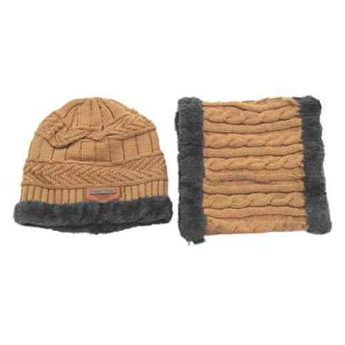 BESPORTBLE Kinder Winter warme Mütze Schal Strickmütze mit weicher Fleece gefütterte Beanie Cap (Khaki) -