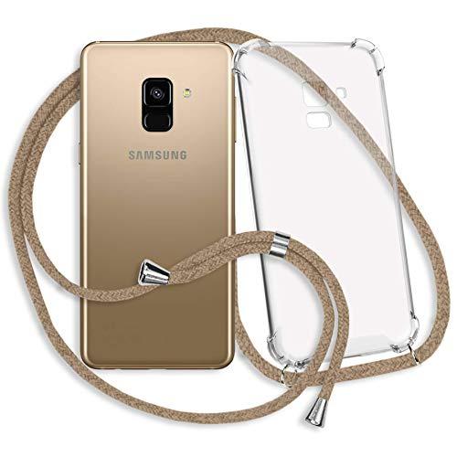 mtb more energy® Handykette kompatibel mit Samsung Galaxy A8 2018 (SM-A530, 5.6'') - beige - Smartphone Hülle zum Umhängen - Anti Shock Strong TPU Case