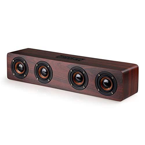 LNZIGK HiFi Bluetooth-Lautsprecher 4 Hörner High Power Wireless Stereo Subwoofer Holz Home Audio Tischlautsprecher Freisprecheinrichtung Tf-Karte Paly Red