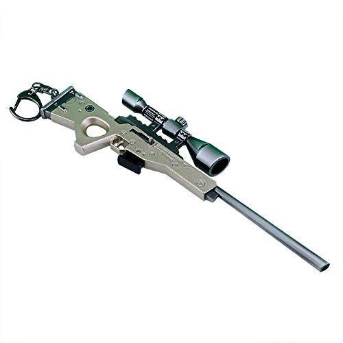 Llavero - 27 CM Bolt tipo Rifle de Francotirador Modelo de Juguete de Aleación -Juguetes de Réplica de Armas para Niños Adultos, Decoraciones, Manualidades- Vista + Silenciador + Soporte + Cargador