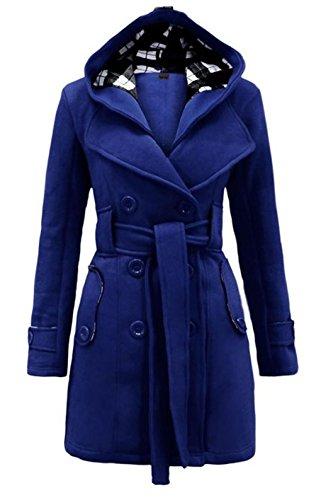Vogue of Eden Women's Hooded Wide Lapel Neck Trench Coat with Belt Blue, M (Womens Neck Open)